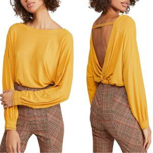 Free People Shimmy Shake Top in Marigold
